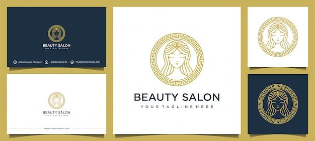 Design del logo delle donne con elegante biglietto da visita Vettore Premium