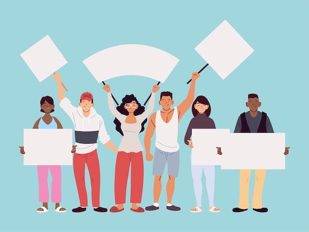 Cartoni animati di uomini e donne con cartelloni pubblicitari, illustrazione di tema di protesta e dimostrazione di manifestazione Vettore Premium