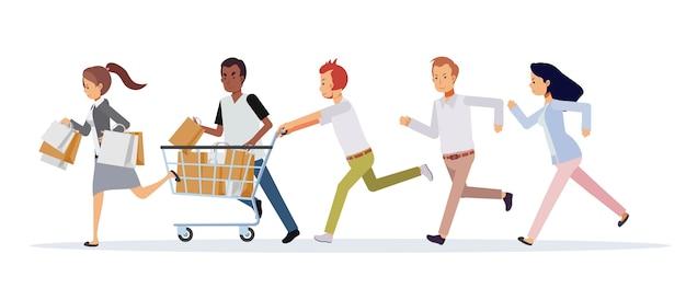 Donne e uomini si affrettano a correre ai saldi. concetto commerciale piatto di promozione e sconto. venerdì nero Vettore Premium