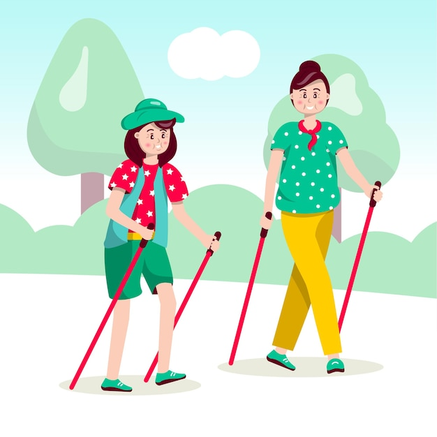 Donne nordic walking, pensionato femminile in possesso di bastoncini da sci Vettore Premium
