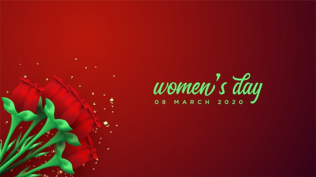 Insegna del giorno delle donne con l'illustrazione della rosa rossa 3d. Vettore Premium