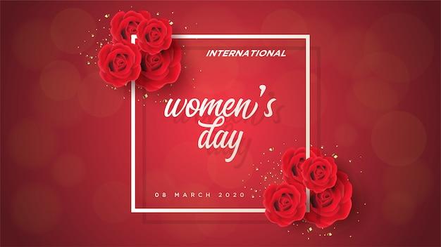 Festa della donna con rose rosse 3d e scritte bianche. Vettore Premium