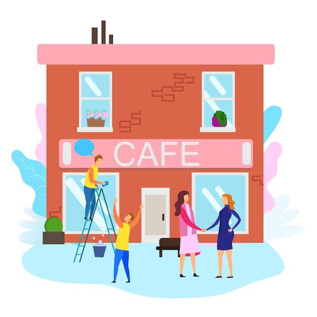 Le donne si stringono la mano gli uomini puliscono la finestra della costruzione del caffè Vettore Premium