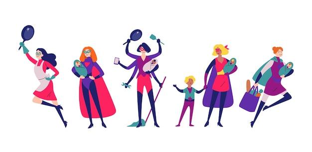 Le donne in costume da supereroe fanno i lavori domestici, puliscono e crescono i bambini. Vettore Premium