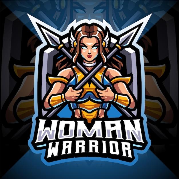 Logo della mascotte delle donne guerriere esport Vettore Premium