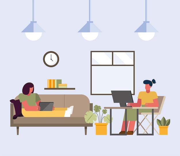 Donne con laptop e computer che lavorano da casa design del tema del telelavoro illustrazione vettoriale Vettore Premium