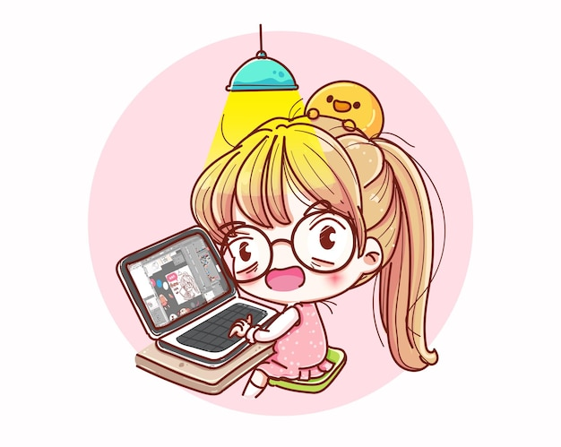 Donne che lavorano a casa e design dei personaggi dei cartoni animati. Vettore Premium