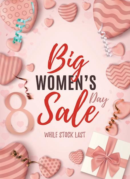 Manifesto verticale di grande vendita di womens day. modello di disegno astratto rosa con fiocco blu cuori caramelle realistiche, nastri e una confezione regalo. Vettore Premium