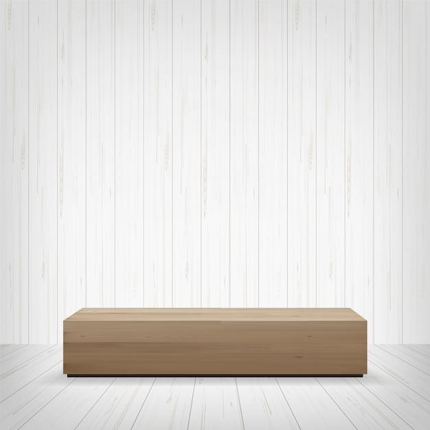 Panca di legno nello spazio della stanza. Vettore Premium