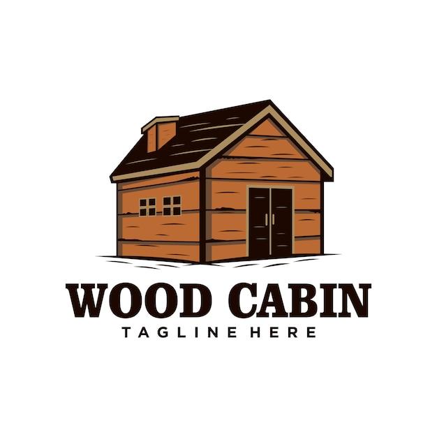 Logo vintage cabina / casa in legno. noleggio cabina Vettore Premium