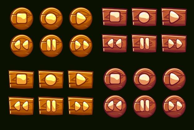 Pulsanti audio in legno. icone illustrate del giocatore Vettore Premium