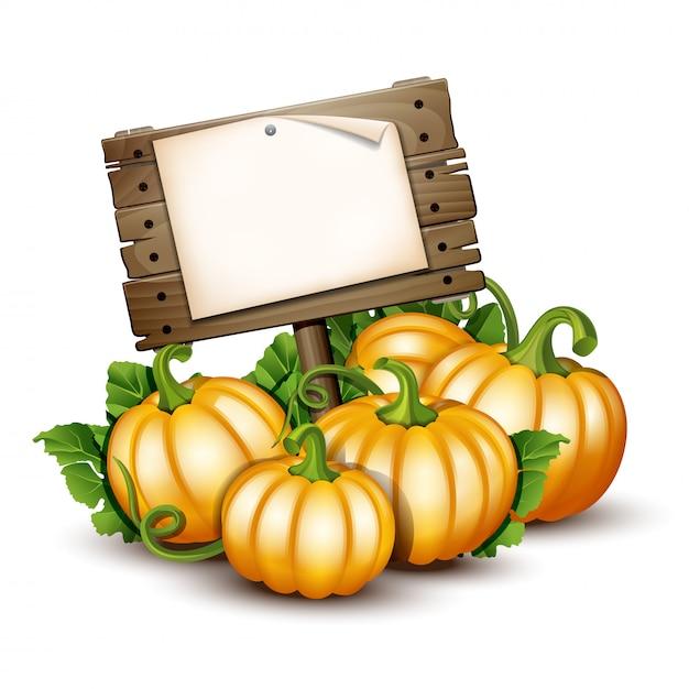 Banner in legno con zucche arancioni. illustrazione autumn harvest festival o il giorno del ringraziamento. verdure ecocompatibili. Vettore Premium