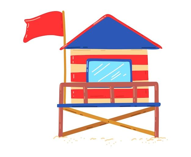 Casa sulla spiaggia in legno, capanna per vacanza attiva sulla costa, vacanze estive, illustrazione di stile del fumetto di progettazione, isolata su bianco. surf in mare, cottage colorato, edificio di viaggio, disegno grafico Vettore Premium