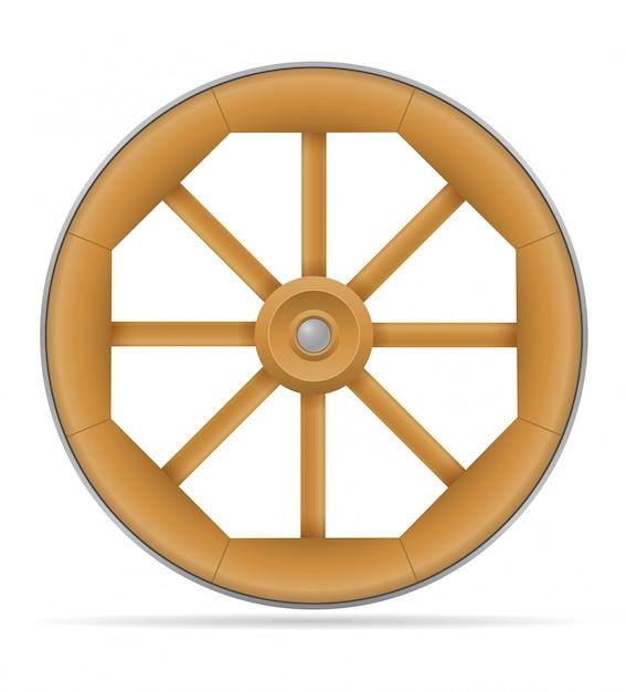 Ruota di carrello di legno con l'illustrazione del cavallo Vettore Premium