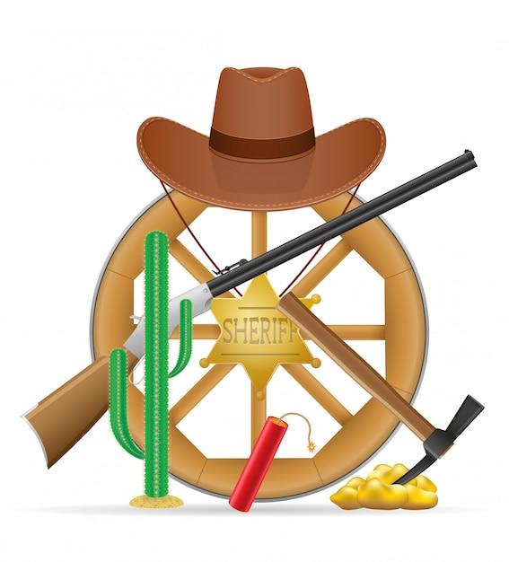 Cartwheel di legno con l'illustrazione selvaggia degli oggetti del cowboy ad ovest Vettore Premium
