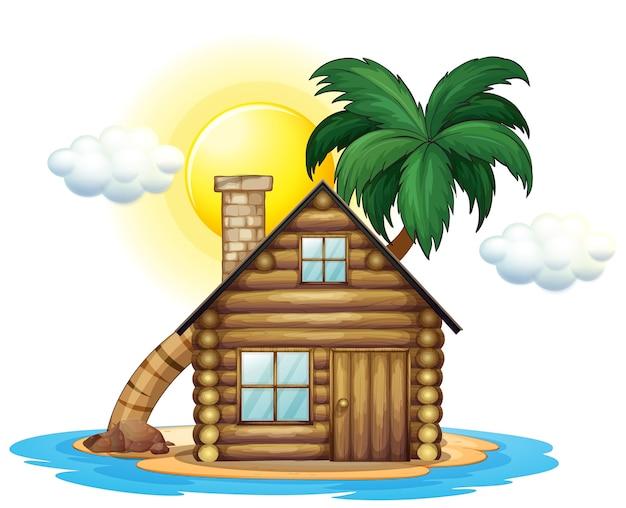 Casetta in legno sull'isola Vettore Premium