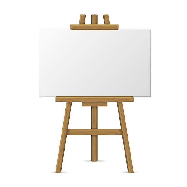 Cavalletto in legno con tela bianca su sfondo bianco. Vettore Premium
