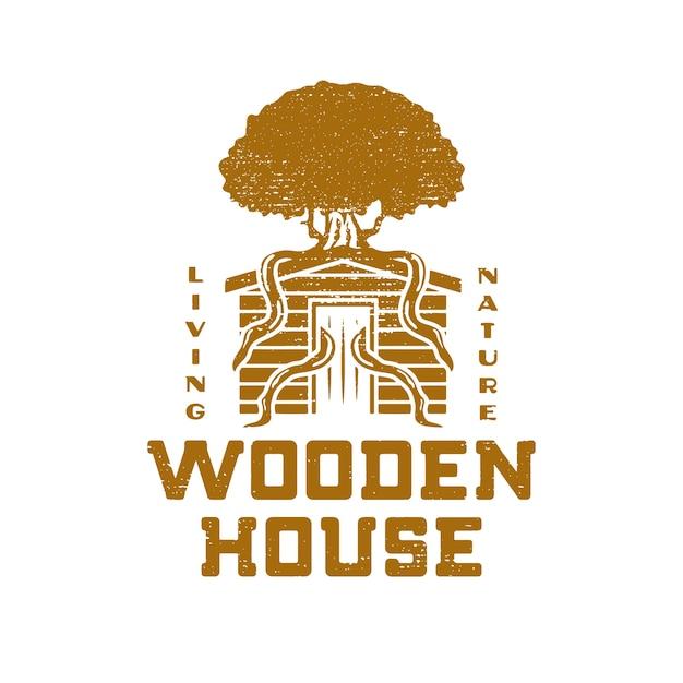 Design grunge casa in legno Vettore Premium
