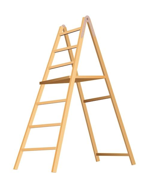 Strumento domestico di scala in legno. Vettore Premium
