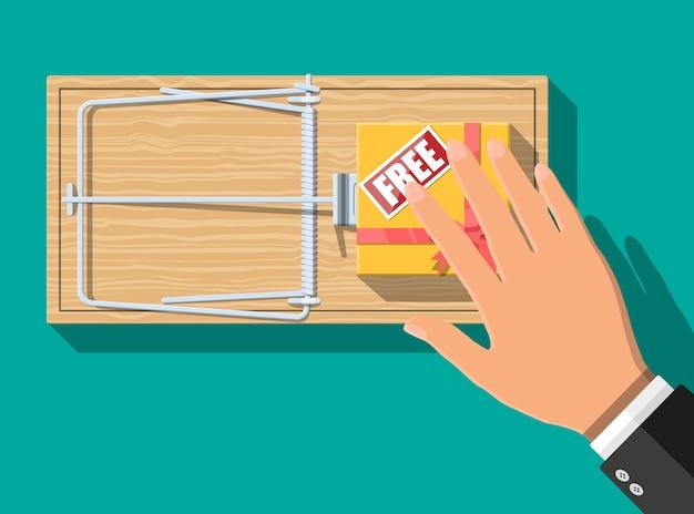 Trappola per topi in legno con scatola regalo con segno gratuito, classica trappola a barra caricata a molla Vettore Premium