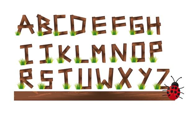 Alfabeto di pile di legno Vettore Premium
