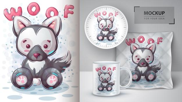Poster e merchandising per cani woof Vettore Premium