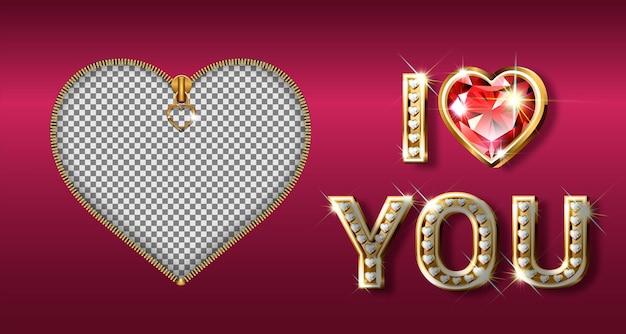 La parola ti amo. lettere d'oro a forma di cuore con brillanti diamanti. san valentino Vettore Premium