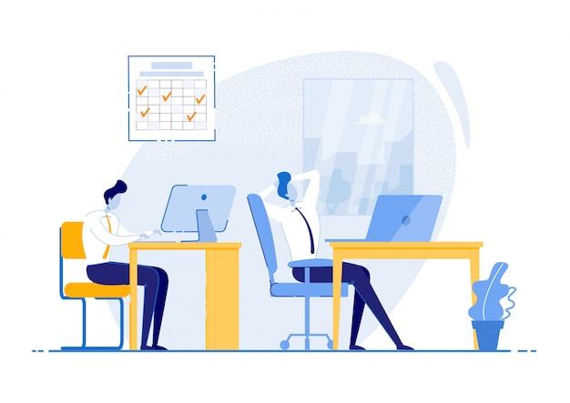 Lavorare secondo il calendario,. abiti da uomo sedersi in ufficio sul posto di lavoro, rilassarsi e lavorare al tavolo. apprendimento e comprensione delle abitudini attuali di gestione del tempo. illustrazione. Vettore Premium