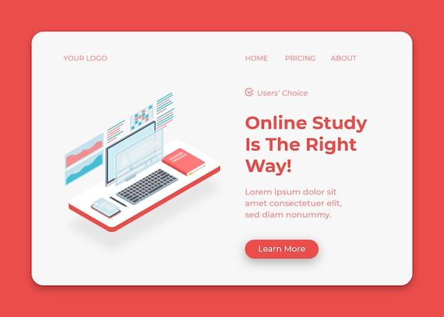 Configurazione della scrivania per lo studio online dall'illustrazione domestica Vettore Premium