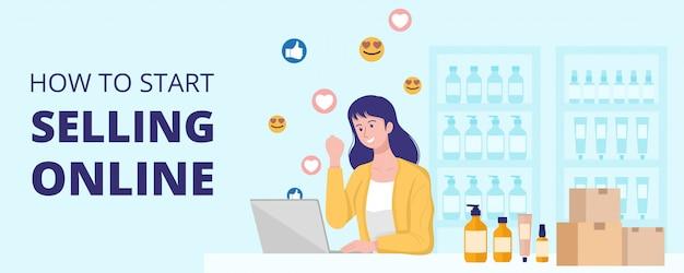 Concetto di lavoro da casa, donna felice che vende prodotti online a casa. Vettore Premium