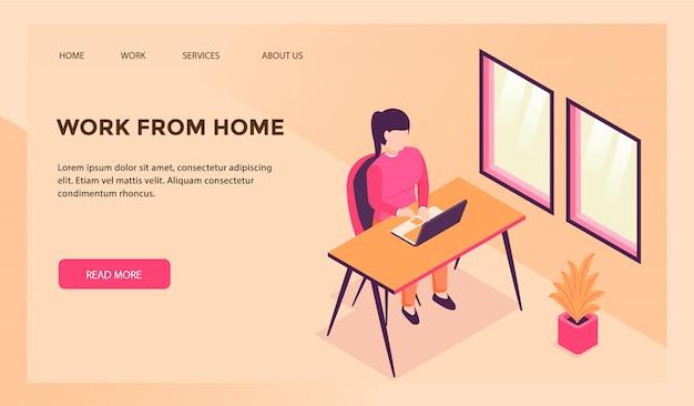 Lavora da casa concetto per modello di sito web o homepage di atterraggio Vettore Premium