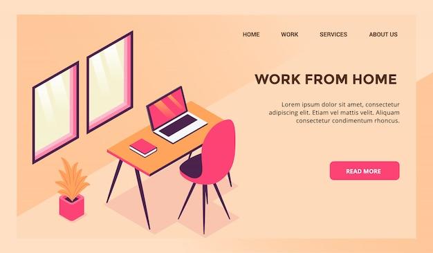 Lavora dal concetto di area di lavoro domestica per il modello di sito web o la homepage di destinazione Vettore Premium