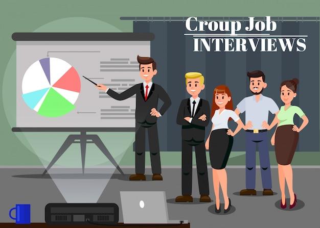 Lavoratori all'illustrazione di vettore di seminario di affari Vettore Premium