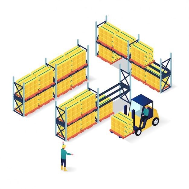 Lavoratori nell'imballaggio dell'illustrazione isometrica del magazzino Vettore Premium