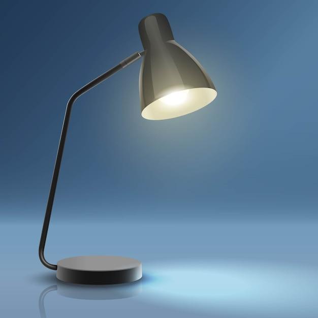 Lampada da scrivania con luce. Vettore Premium
