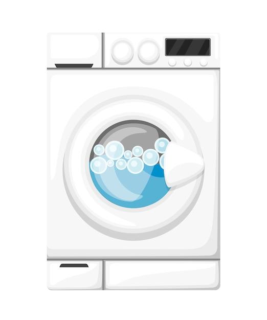 Lavatrice funzionante. elettrodomestici bianchi. acqua e bolle di sapone. illustrazione su sfondo bianco Vettore Premium