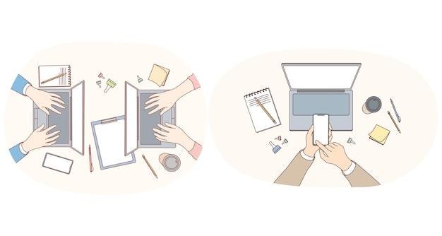 Lavorando con il concetto di elettronica e gadget. Vettore Premium