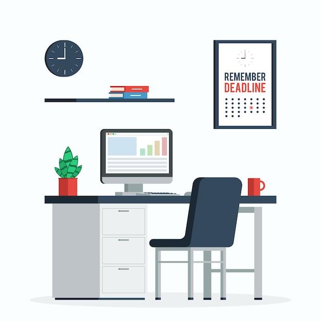 Posto di lavoro con computer, orologio e poster