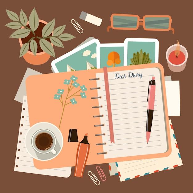 Posto di lavoro con un diario personale. pianificazione e organizzazione personale Vettore Premium