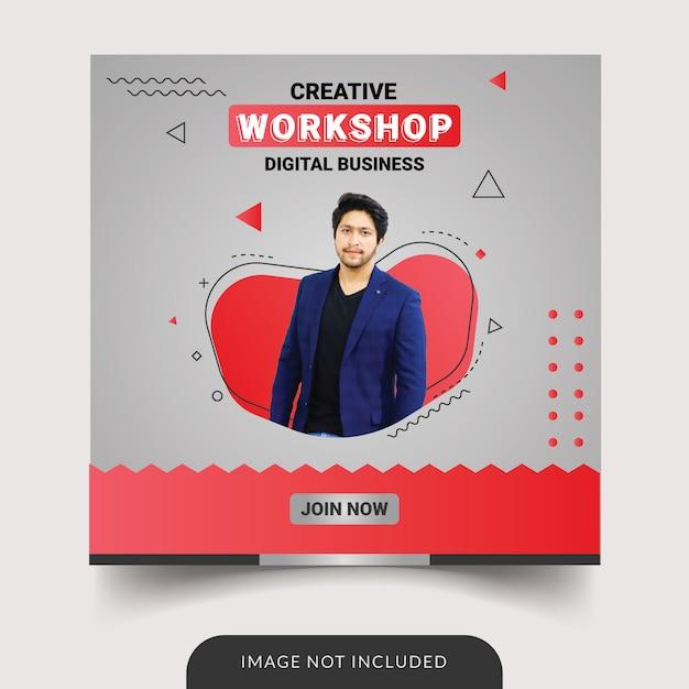 Modello di social media workshop Vettore Premium