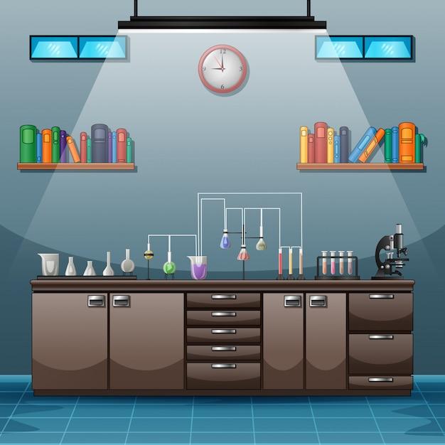 Area di lavoro con tavolo pieno di strumenti per esperimenti scientifici Vettore Premium