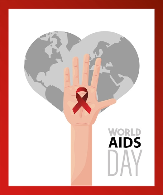 Iscrizione della giornata mondiale contro l'aids con nastro rosso di sollevamento della mano Vettore Premium