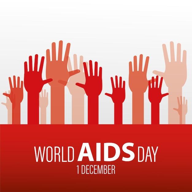 Iscrizione della giornata mondiale contro l'aids con le mani in alto Vettore Premium