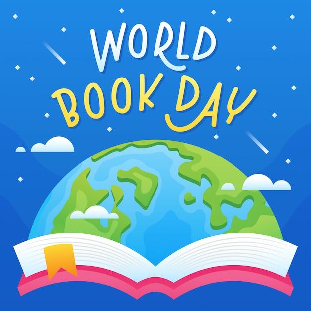 Sfondo del giorno del libro mondiale Vettore Premium