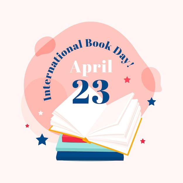 Illustrazione di giorno del libro del mondo nella progettazione piana Vettore Premium