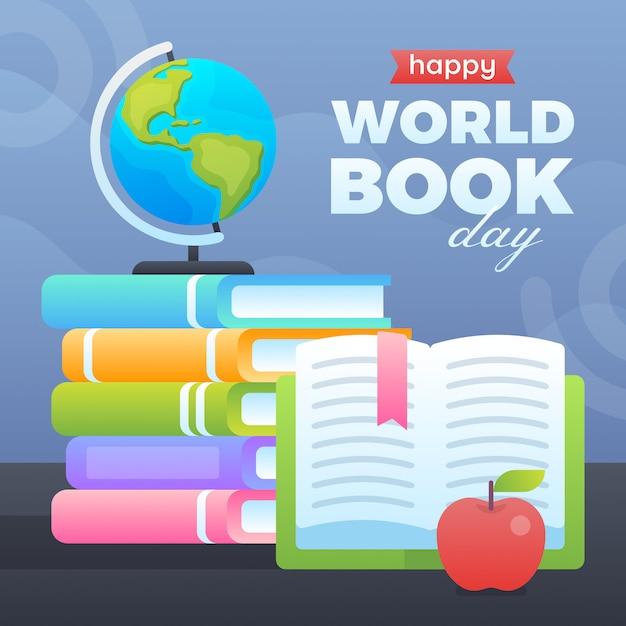 Illustrazione di giornata mondiale del libro Vettore Premium