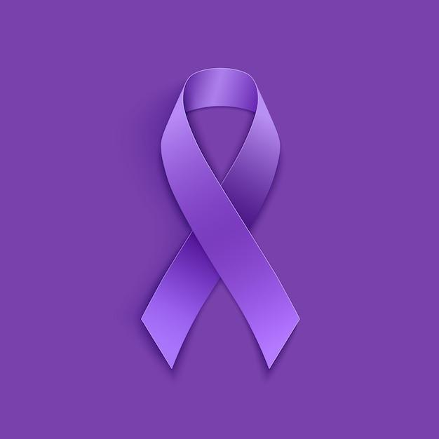 Nastro viola di giornata mondiale del cancro Vettore Premium