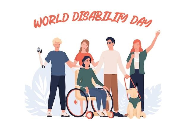 Giornata mondiale della disabilità. disabili che stanno insieme. persone con protesi e sedia a rotelle, sordomute e cieche. Vettore Premium