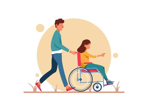 Giornata mondiale della disabilità. uomo e donna in sedia a rotelle a piedi. personaggio femminile in fase di riabilitazione dopo un trauma o una malattia. illustrazione del personaggio Vettore Premium
