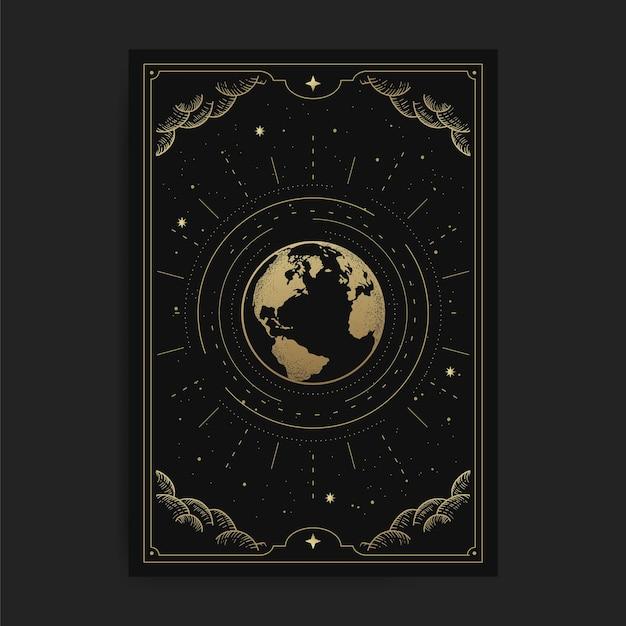 Il mondo o la terra, illustrazione di carte con temi esoterici, boho, spirituali, geometrici, astrologici, magici, per la carta del lettore di tarocchi Vettore Premium